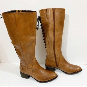 Steve Madden Leather Cognac Lace-Up Boots